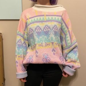 Sweaters - Oversized Pastel Holiday Sweater